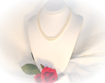Vintage Double Strand White Faux Pearls - pre 1960