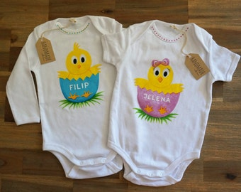 CHICKEN Baby Girl & Boy Bodysuit set Hand Painted Personalized, Easter Little Chicks Matching Bodysuit for Siblings Twins Brother and Sister
