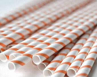 Orange Stripe White Paper Straws .