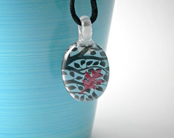 Trees & Copper Leaf Fused Glass Pendant