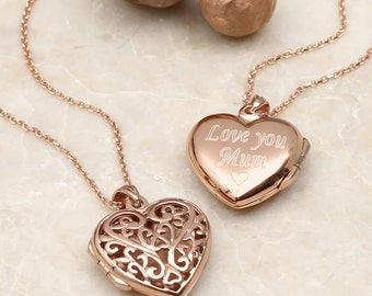 Rose Gold Personalised Filigree Locket (160R)