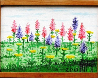 FLOWER HILL Original Painting with Handcrafted Frame 11x8 No. 397