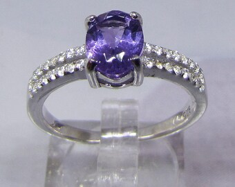 Ring silver amethyst and white Zirconium size 60