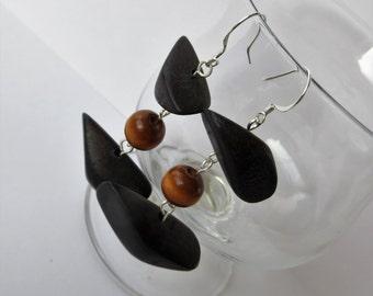 Wooden Earrings, Wood Dangle Earrings, Wooden Jewelry, Wood Earrings, Wood Jewelry, Big Earrings, Large Earrings, African Earrings, Black