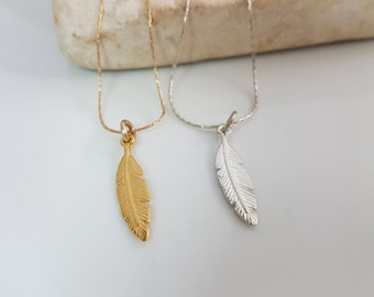 Silver feather necklace, Silver feather pendant, Delicate necklace silver or gold plated