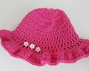 Baby Summer Sun Hat in Hot Pink