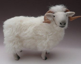 Handcrafted Porcelain and Mohair Welsh Mountain Ram Figure