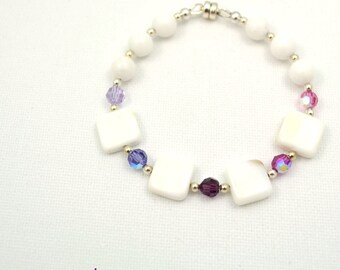 White Agate Bracelet, Swarovski Crystal Bracelet, Statement Bracelet, Semiprecious Stone Bracelet, Gemstone Jewelry, Semi Precious Bracelet