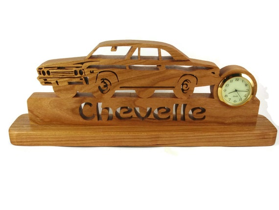 1967 Chevelle Malibu Desk Or Shelf Art With A Quartz Clock, Cut By Hand From Cherry Wood By KevsKrafts NFB-1