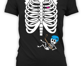Pregnant Skeleton Shirt Halloween Pregnancy Costume Maternity Skeleton T shirt Skeleton Pregnancy Shirt Ladies Hockey Tshirt BBW-11