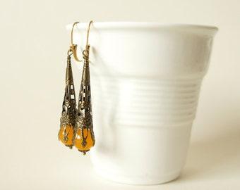 Pendant earrings Bronze Jadeperle Boho Oriental
