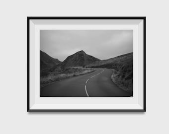 Black and white, Mountain Print, Nature, Mountain Wall Art, Instant Download, Mountain Printable Art, Road photography, Landscape Wall Art,