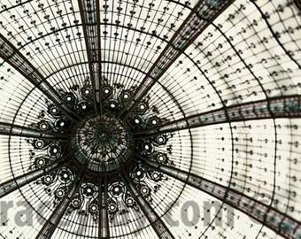 Modern Abstract Paris Photography, Galeries Lafayette Print, Black White Beige Wall Art