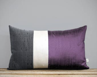 Silk Color Block Pillow (12x20) Ultra Violet, Cream + Gray by JillianReneDecor, Lavender, Purple, Luxury Gift for Her, Pantone 2018