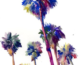 Palm Trees, Original large painting, Large watercolo art , palm trees, large wall art, palms olive green art