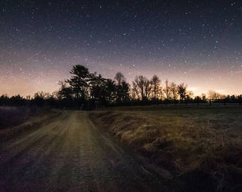 """star photography, country road, Virginia, night sky, starry night, unique photo, fine art: 11x16, 8x12, or 5x7 photograph, """"Guiding Lights"""""""