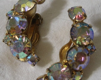 Vintage Iridescent Aurora Borealis  Rhinestone in Metal Crescent Costume Jewelry Clip Earrings