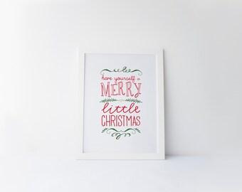 Printable art Christmas printable Merry little Christmas Wall art decor Winter decor prints Christmas decor Holiday print Christmas wall art