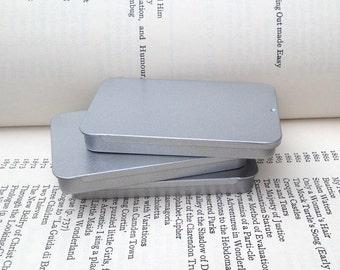 40ml Sliding Lid Tins, Rectangular Metal Tins, Silver Color, Flat Business Card Box, (A Set Of 6 Tin Boxes)