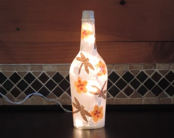 Handcrafted wine bottle light with dragonflies and flowers - dragonfly light
