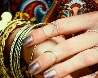 Knuckle Ring Chevron Arrow Single Joint Ring Boho Gold Brass Wire Wrap Stackable Bohemian Hippie Eclectic Statement Jewelry Adjustable