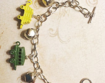 Christmas Holiday Train Silver Jingle Bells Charm Altered Art Mixed Media Bracelet Jewelry