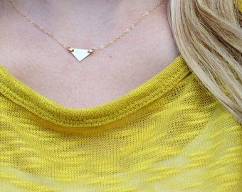 dainty triangle necklace, gold triangle necklace, minimal necklace, layering necklace, geometric necklace, dainty gold triangle necklace