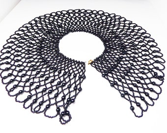 Victorian Black Mourning Collar Necklace - Gothic Black Beaded Bib - Large Black Glass Beads - Vintage Goth Early Century Jewelry