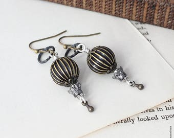 Steampunk Balloon Earrings, Hot Air Balloon, Steam Punk Ear Rings, Old World Jewellery, Mixed Metal Jewellery, Handmade UK