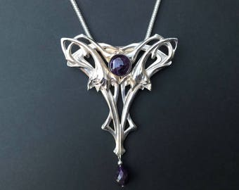 Arts And Crafts Flower Pendant With Amethyst