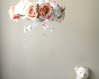 Baby mobile, Flower mobile with genuine Swarovski crystals / Crib mobile, Nursery decor, Wedding chandelier, Rose gold nursery