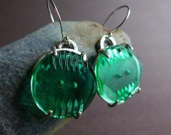 Vintage Green Glass Art Deco Button Earrings Round Green Sterling Silver Artisan Earrings OOAK Industrial Dimensional Glass Button Earrings