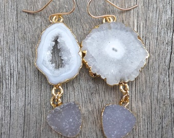 Mismatched Grey Druzy Geode Earrings