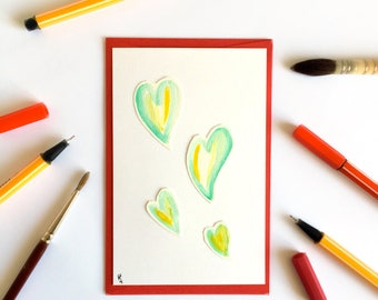 Valentine's Day romantic handmade love card - Watercolor hearts - Love letters and love words - Love Hearts Green Yellow White Gold