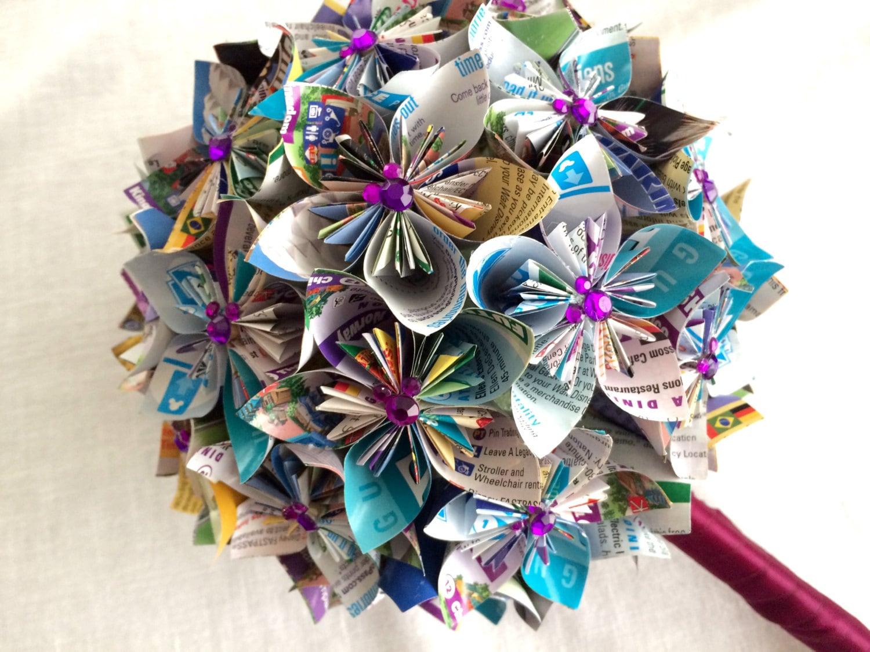 Custom disney park map paper flower wedding bouquet with zoom mightylinksfo