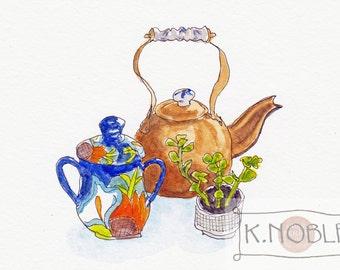 Kitchen Still Life Watercolor Illustration: Copper Tea Kettle with Delft Accents, Art Deco Sugar Bowl and Succulent