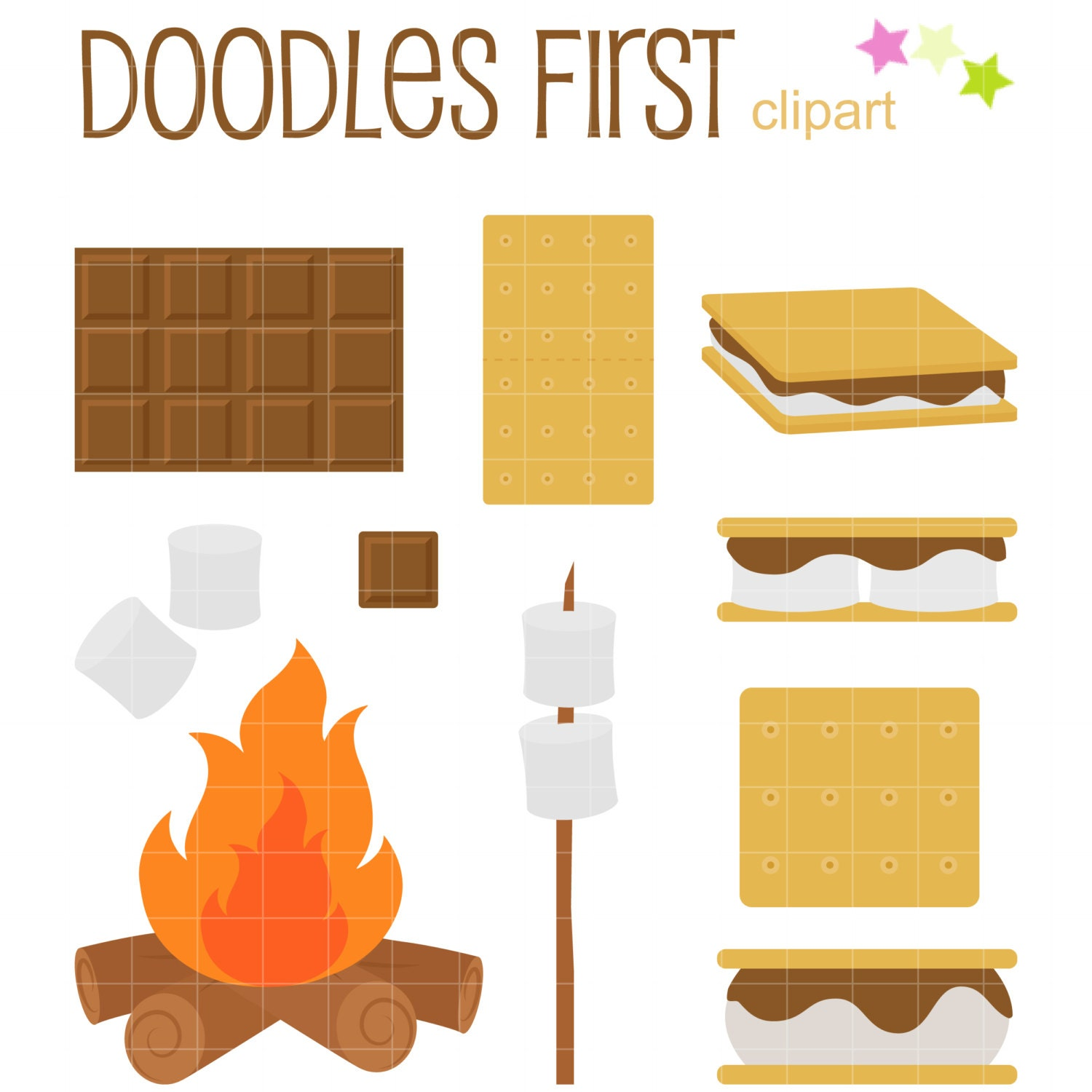 ooey gooey smores clip art for scrapbooking card making rh etsy com smores clipart images smores cartoon clipart