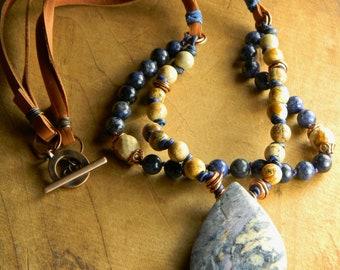Denim Blue Pendant Necklace Dumortierite Picture Jasper Knotted Leather