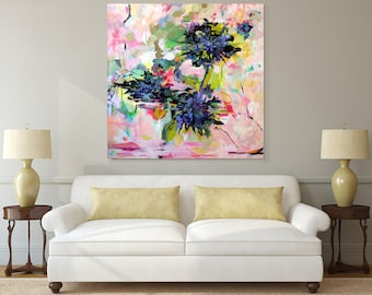 """Large art, original painting, pink abstract painting, acrylic painting,  contemporary art, wall decor, 48"""" x 48"""",  - FREE SHIPPING"""