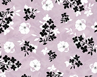 Floral Fabric, Twilight by Quilting Treasures, Purple Floral, Floral, Black Floral, 01500
