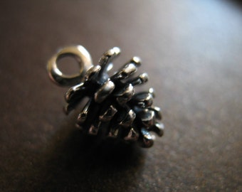 1 5 10 pcs, 925 Sterling Silver Pine Cone Charm Pendant /  13.5x8.5 mm, LARGE, Oxidized 3D, country weddings nature solo