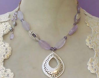 Unusual and Lovely Necklace with Sterling Silver Pendant and Lavender Beads