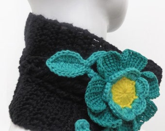 Stylish Crochet Scarf or Neck Warmer for Women Enhanced with a Green Flower, Perfect for this Winter Time