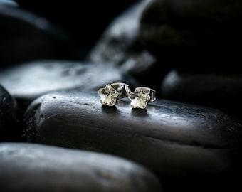 Petite Crystal Flower stud earrings - Swarovski crystal finished in glossy rhodium