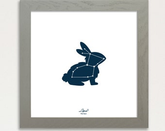 Constellation Art Print, Screen Printed 12x12 Night sky stars, Glow in the dark, Lepus bunny rabbit Constellation