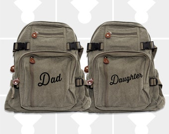 Backpack, Personalized Fathers Day, Dad Daughter Gift, Dad Gift, Diaper Bag Backpack, Canvas Backpack, Dad Daughter First Love, Daddy and Me