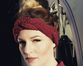 Buy one get one 50% off Braided earwarmer/headbsnd. Valentines colours red and pink. Crochet