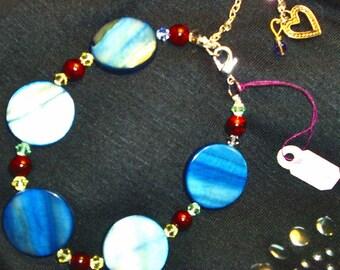 BLUE SHELL, SWAROVSKI, Red Stone Bracelet, Fabulous, Classy, RedRobinArt, Grigsby Gallery