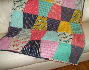 Modern Quilt, Tumbler Quilt Throw, Patchwork Throw Quilt, Cotton + Steel Quilt