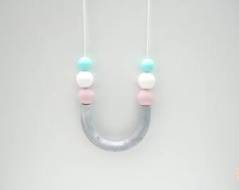 Hannah U tube beaded silicone necklace.
